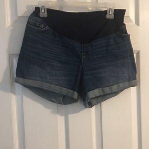 Blue jean shorts maternity